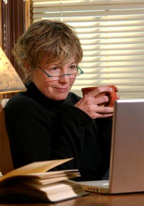 senior woman in computer