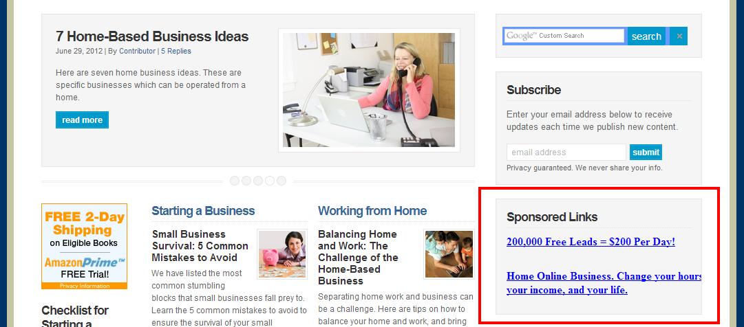 sponsored link advertising