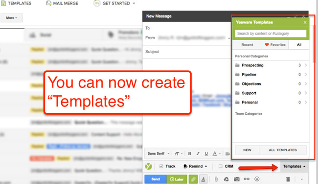 create and access your email templates using Yesware