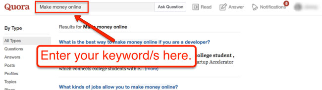 Quora is a Q&A site enter keywords