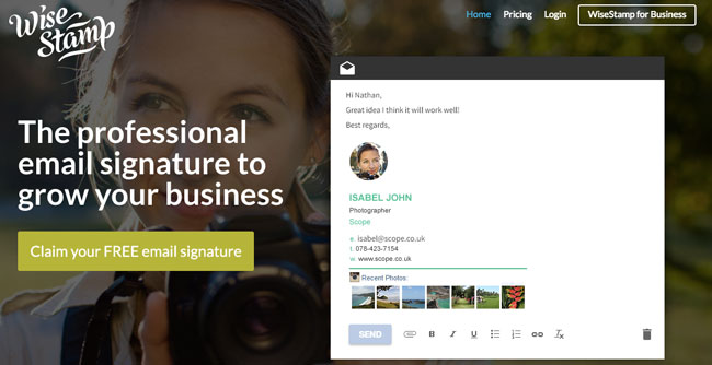 Wisestamp tool that helps you create stunning email signatures