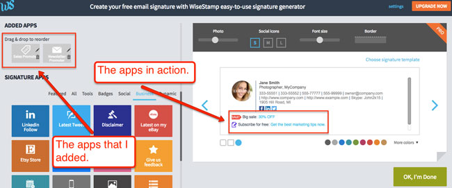 WiseStamp Cool signature apps