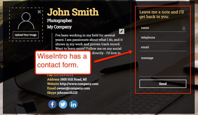WiseIntro contact form that your prospect customers can use to connect with you