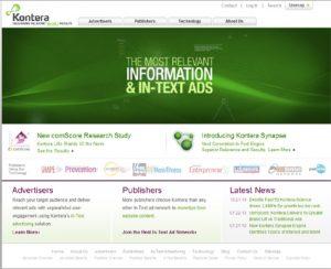 Kontera in text advertising network