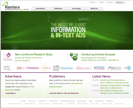 Kontera in text advertising network