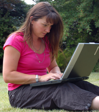 woman outdoor laptop