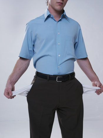 man holding empty pockets