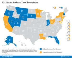 2017 State Tax Business Climate state-by-state map