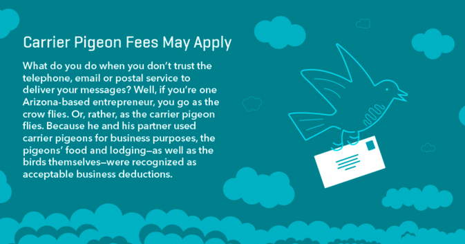 tax deduction carrier pigeons