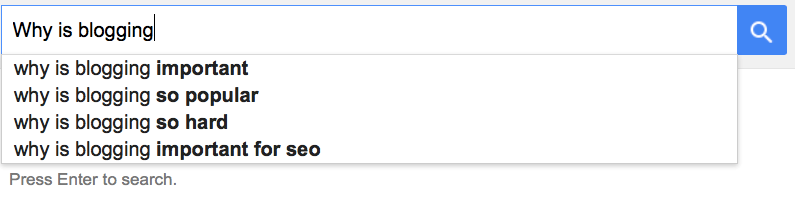 Google autocomplete: why is blogging
