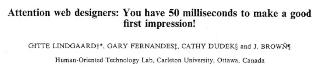 study confirming good first impression of a website